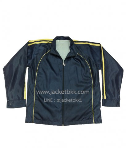 เสื้อแจ็คเก็ต ผ้าร่มเรียบ สีกรมท่าตัดต่อสีเหลือง