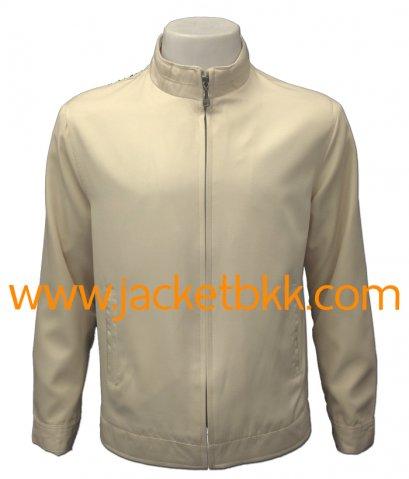 เสื้อแจ็คเก็ตคอจีน ผ้าไมโครจีน สีครีม ปกขลิปสีแดง