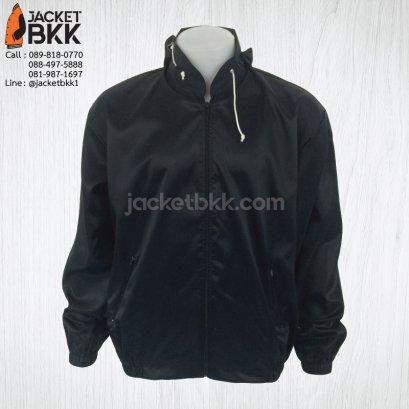 เสื้อแจ็คเก็ต ผ้าร่มมีฮู๊ด สีดำ