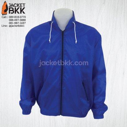 เสื้อแจ็คเก็ต ผ้าร่มมีฮู๊ด สีน้ำเงิน