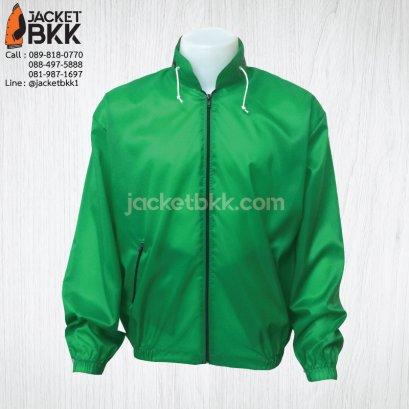 เสื้อแจ็คเก็ต ผ้าร่มมีฮู๊ด สีเขียว