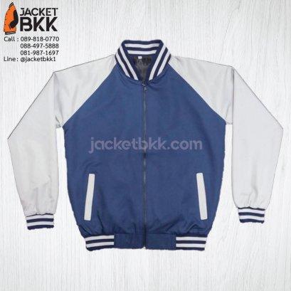 เสื้อแจ็คเก็ต ทรงเบสบอล แบบคอตั้งทอพรม ผ้าไมโคร สีกรมท่าตัดต่อสีเทา
