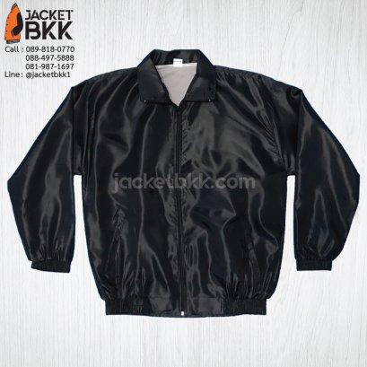 เสื้อแจ็คเก็ตผ้าร่มเรียบ สีดำล้วน