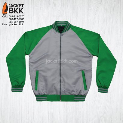 เสื้อแจ็คเก็ต ทรงเบสบอล แบบคอตั้งทอพรม สีเทา ปกขลิปสีเขียว