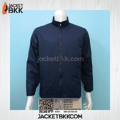 เสื้อแจ็คเก็ต ผ้าไมโคร แบบคอตั้ง สีกรมท่า