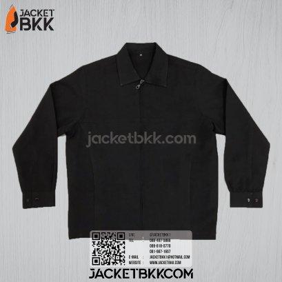 เสื้อแจ็คเก็ต ทรงกึ่งสูท แบบคอปกหรือคอเชิ้ต สีดำ