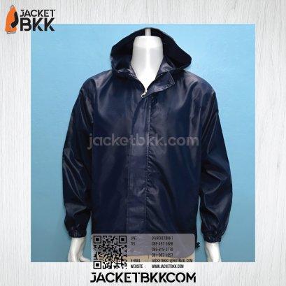 เสื้อแจ็คเก็ต ผ้าร่มกันน้ำ มีฮู๊ด สีกรมท่า