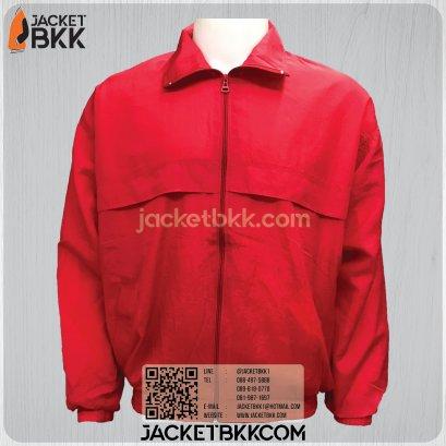 เสื้อแจ็คเก็ต ผ้าร่มย่นสีแดง