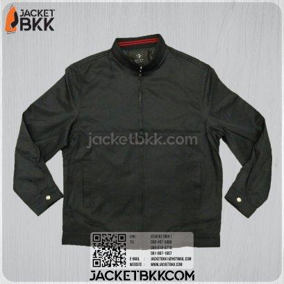 เสื้อแจ็คเก็ต คอจีน นำเข้า สีดำ กุ๊นคอสีแดง