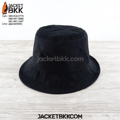 หมวกปีกรอบ bucket hat ผ้าพีช สีดำ