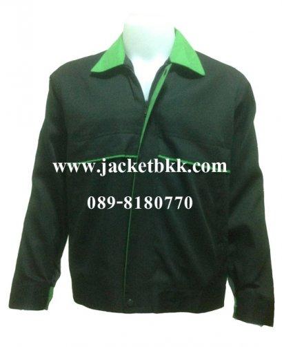 เสื้อแจ๊คเก็ต ตัดต่อแบบ A สีดำปกสีเขียว ผ้าคอมทวิว