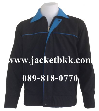 Jacket เสื้อแจ็คเก็ต ผ้าไมโคร ตัดต่อสองด้าน ดำปกฟ้า-ฟ้าปกดำ