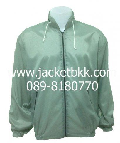 เสื้อแจ็คเก็ต ผ้าร่มมีฮู๊ด สีเทา