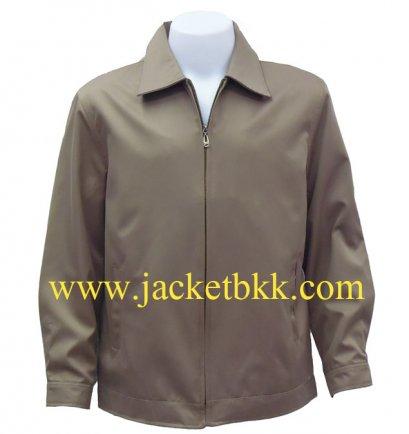 เสื้อแจ็คเก็ต นำเข้า สีน้ำตาลเข้ม คอปก