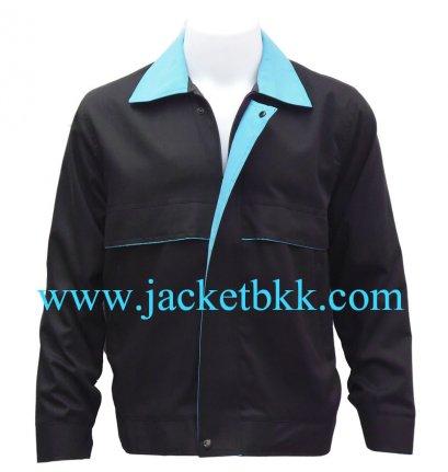 เสื้อแจ๊คเก็ต ตัดต่อแบบ A สีดำปกสีฟ้า ผ้าคอมทวิว