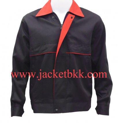 เสื้อแจ๊คเก็ต ตัดต่อแบบ A สีดำปกสีแดง ผ้าคอมทวิว