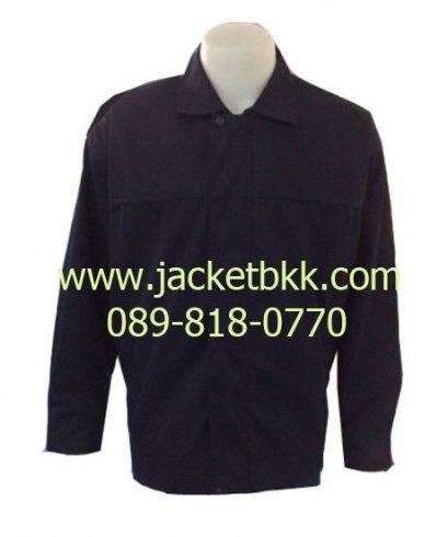 เสื้อแจ็คเก็ต ผ้าคอตตอนคอมพ์ ซับในทั้งตัว สีกรมท่า