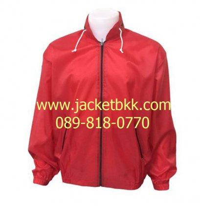 เสื้อแจ็คเก็ตผ้าร่มมีฮู๊ด สีแดง