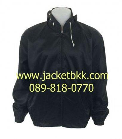 เสื้อแจ็คเก็ตผ้าร่มมีฮู๊ด สีดำ
