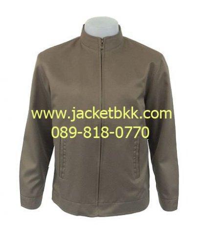 Jacket เสื้อแจ็คเก็ตคอจีน นำเข้า สีน้ำตาลเข้ม กุ๊นคอสีแดง