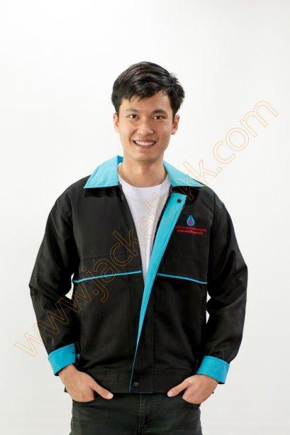เสื้อแจ็คเก็ตผ้าคอมทวิวสีดำ ปกสีฟ้า