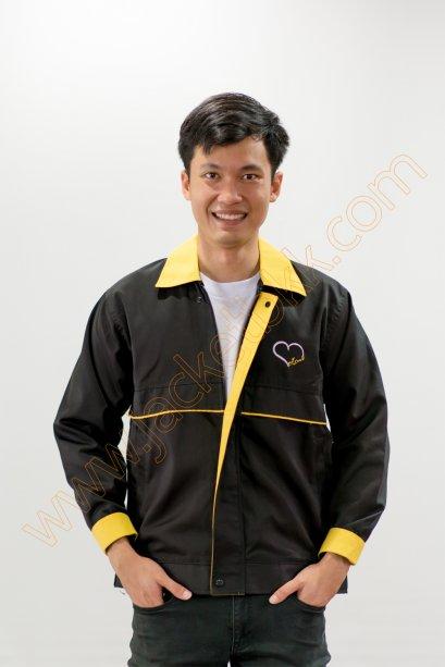 เสื้อแจ็คเก็ตผ้าคอมทวิวสีดำ ปกสีเหลือง