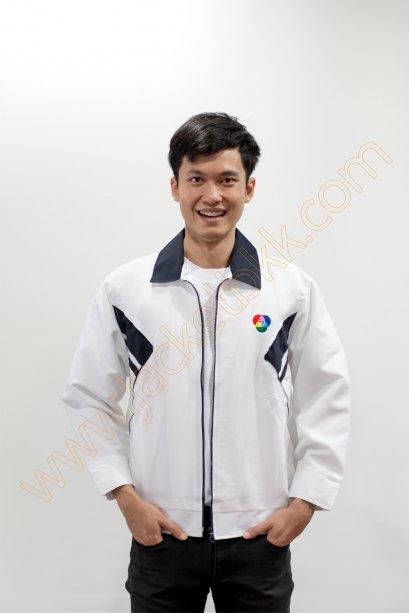 เสื้อแจ็คเก็ตสีขาวตัดต่อสีกรมท่า ตัดต่อแบบ G