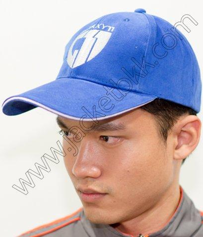 หมวกแก๊ปสีน้ำเงินพร้อมปัก/สกรีน1
