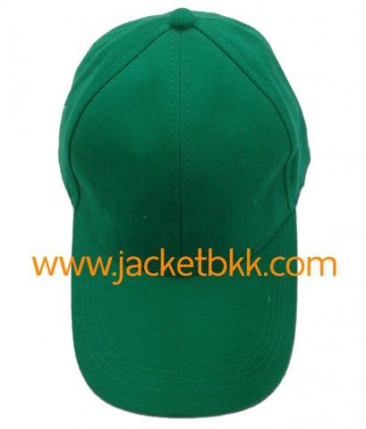 หมวกแก๊ป ผ้าพีช ไม่มีแซนวิช ไม่เจาะรู สีเขียว
