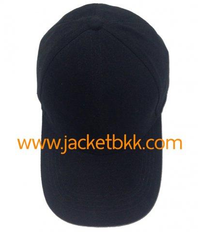 หมวกแก๊ป ผ้าพีช ไม่มีแซนวิช ไม่เจาะรู สีดำ