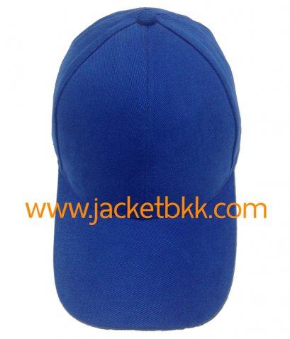หมวกแก๊ป ผ้าพีช ไม่มีแซนวิช ไม่เจาะรู สีน้ำเงิน