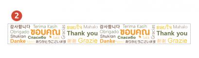 เทปพิมพ์ลาย Thank you (เทปใสพิมพ์ 15 ภาษา)