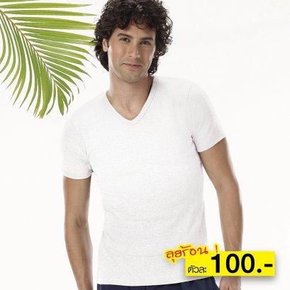 เสื้อแขนสั้นคอวี รุ่น Double Hygienic รหัส SCD2 สีขาว