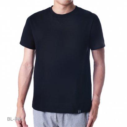 เสื้อแขนสั้นคอกลมดีไซน์ตัดต่อช่วงคอด้านหน้า รุ่น Homewear รหัส SPAA04 สีดำ