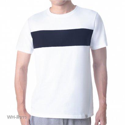 เสื้อแขนสั้นคอกลมดีไซน์ตัดต่อช่วงอกรุ่น Homewear รหัส SPAA06 สีขาว
