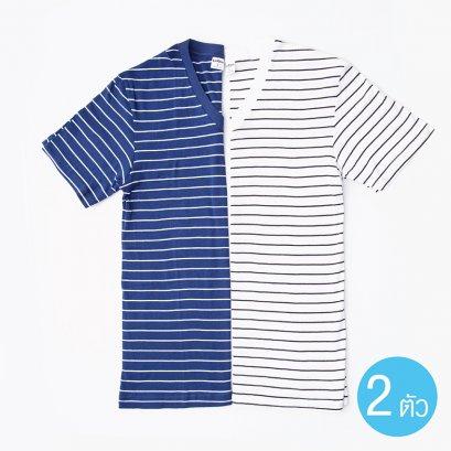 เสื้อแขนสั้นคอวีลายริ้วแซนรีโม รหัส SST1 Set สีน้ำเงิน และ สีขาว
