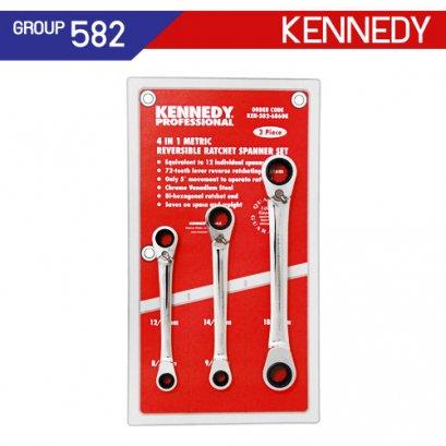ชุดประแจแหวนฟรี 3 ตัว รุ่น 4-In-1 (MM) KEN-582-6860K