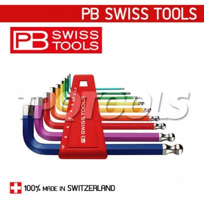 PB212H10RB ชุดประแจหกเหลี่ยมหัวบอลสั้น สีรุ้ง
