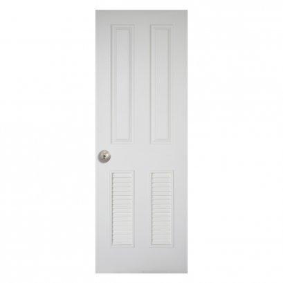 Leo Dore' : ประตูลูกฟัก 2 ตรง เกล็ดล่าง 2 ผิวลายไม้ สีน้ำมันขาว