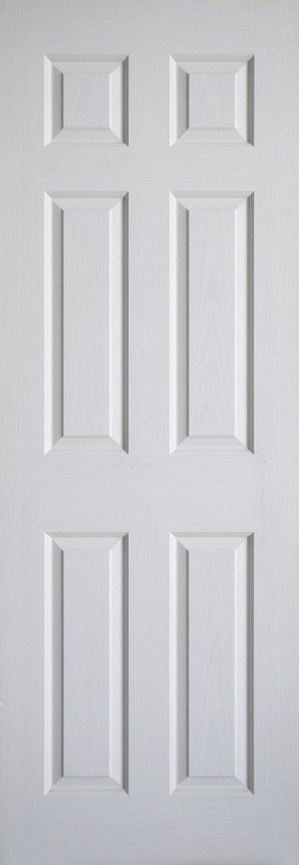 Leo Dore' : ประตูลูกฟัก 6 ตรง ผิวลายไม้ สีรองพื้น