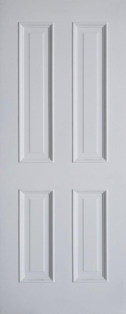 Leo nic : ประตูลูกฟัก 4 ตรง MDF สีรองพื้นขาว