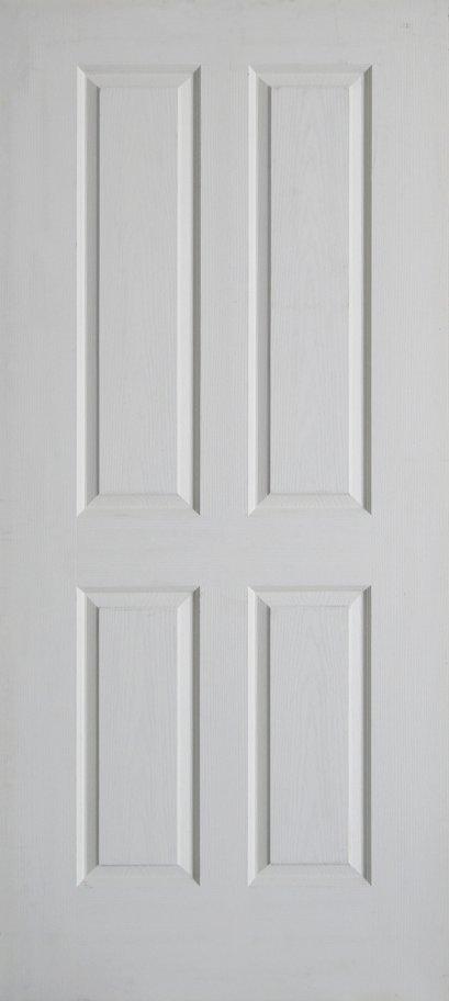 Leo Dore' : ประตูลูกฟัก 4 ตรง ผิวลายไม้ สีรองพื้น