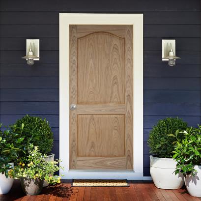 ประตูไม้ภายนอก ประตูลูกฟัก 2 โค้ง สัก (ไม่ทำสี)