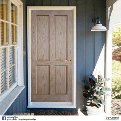 LeoDoor : ประตูลูกฟัก 4 ตรง-สัก ไม่ทำสี ขนาด 3.3x90x200 ซม.
