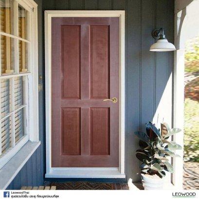 LeoDoor : ประตูลูกฟัก 4 ตรง สยาแดง ไม่ทำสี  ขนาด 3.3x90x200 ซม.