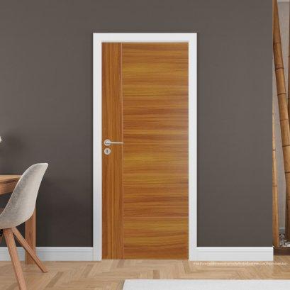 ประตูไม้เมลามีน สี Brazilian Teak Series4 แบบเซาะร่อง