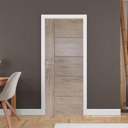 ประตูไม้เมลามีน สี Brownie Oak Series4 แบบเซาะร่อง