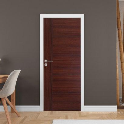 ประตูไม้เมลามีน สี Mahogany Series4 แบบเซาะร่อง