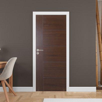 ประตูไม้เมลามีน สี Walnut Series4 แบบเซาะร่อง