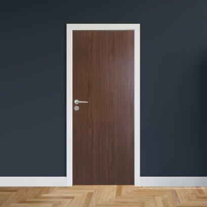 ประตูไม้เมลามีน สี Walnut Series5 แบบบานเรียบ